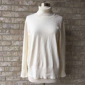 Lame Bryant Creme Turtleneck Sweater Top 14/16